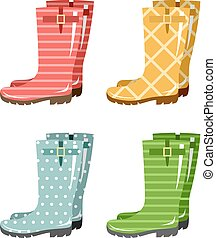 Set of gumboots on a white background