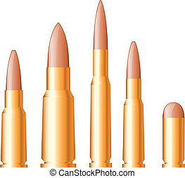 Set of gun bullets and ammunition isolated on white background