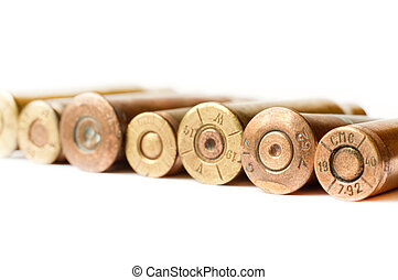 Set of gun bullets isolated on white background.