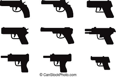 Set of gun icon in silhouette style, vector