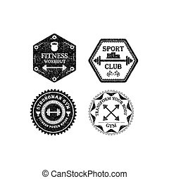 Set of gym and fitness logo. Vector illustration