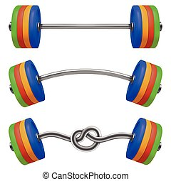 Set of gym barbell isolated. Realistic vector