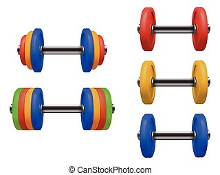 Set of gym dumbbell isolated. Realistic vector