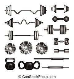 Set of gym equipment - modern vector realistic isolated clip art