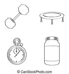 Set of gym icons
