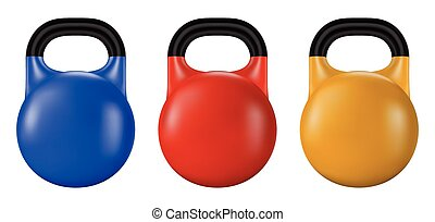 Set of gym kettlebell isolated. Realistic vector