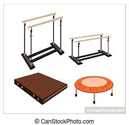 Set of Gymnastics Equipment on White Background