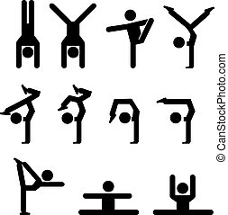 Set of gymnastics icon in silhouette
