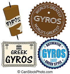 Set of gyros labels and elements on white, vector...