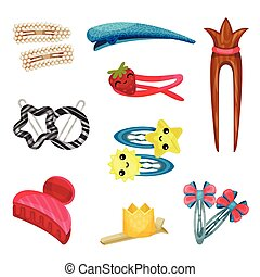 Set of hair ornaments. Vector illustration on white background.