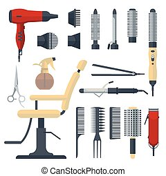 Set of hairdresser objects in flat style isolated on white background. Hair salon equipment and tools logo icons, hairdryer, comb, scissors, chair, hairclipper, curling, straightener