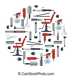 Set of hairdresser objects in flat style isolated on white background. Hair salon equipment and tools logo icons, hairdryer, comb, scissors, chair, hairclipper, curling, hair straightener