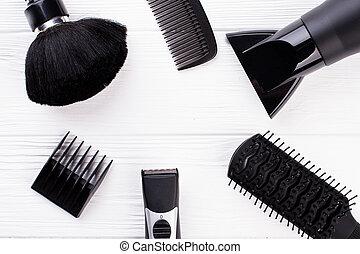 Set of hairdresser tools on white background.