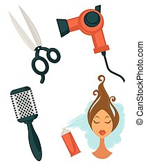 Set of hairdressing items