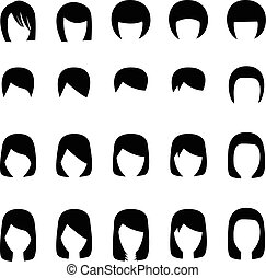 Set of hairstyle silhouette, vector