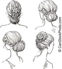 set of hairstyles. Bridal hairdo. Hand drawn.