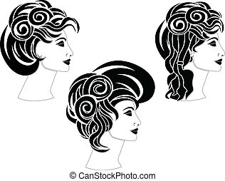 set of hairstyles