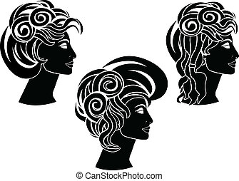 set of hairstyles. stencil