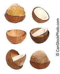 set of half coconut isolated on white