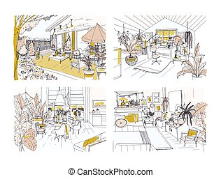 Set of half colored freehand sketches of cozy apartment...