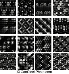 Set of halftone dotted patterns