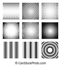 Set of halftone elements. Monochrome abstract patterns for ...