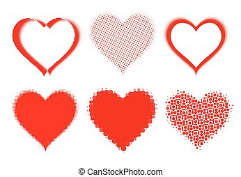 set of halftone hearts on white. vector
