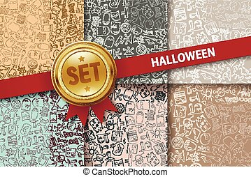Set of Halloween backgrounds with doodle icons in different colors