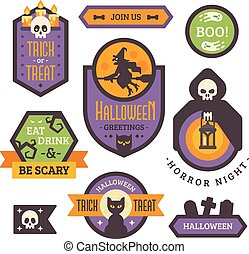 Set of Halloween badges. Flat holiday elements and banners. Trick or treat. Retro Halloween labels