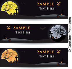 Set of Halloween banners on a light background