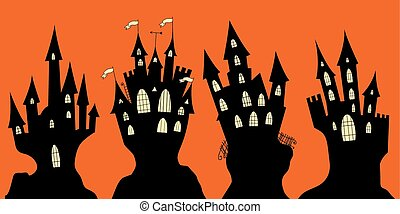 Set of halloween black castle