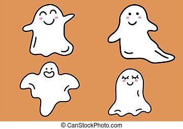 Set of halloween cute ghosts. Cartoon doodle ghost character collection isolated on orange background. Vector illustration.