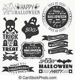 Set of halloween decorative elements. Vector illustration