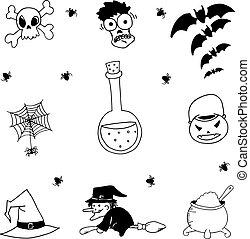 Set of halloween doodle hand draw