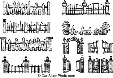 Set of halloween fence.Fence vector by hand drawing