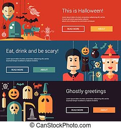 Set of Halloween flat design modern illustrations, banners, headers with icons and characters. Flyers for party