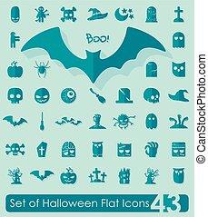 Set of halloween flat icons
