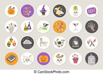 Set of Halloween gift tags and labels with holiday...