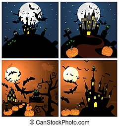 Set of Halloween Greeting Cards