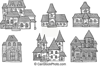 Set of halloween house. House vector by hand drawing