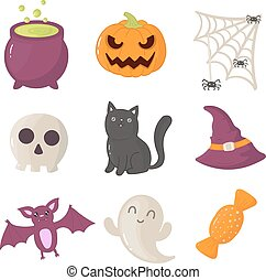 Set of halloween icons. Vector illustration