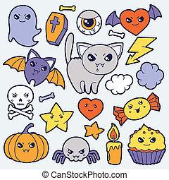 Set of halloween kawaii cute doodles and objects.