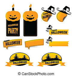 Set of halloween label sticker and tag