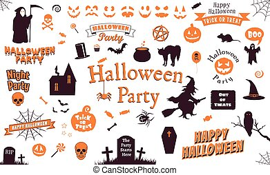 set of halloween labels and elements. illustration template