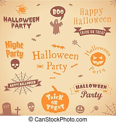 set of halloween labels and elements
