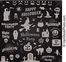set of halloween labels and elements. Vector illustration template