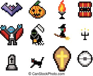 Set of Halloween object in pixel style for game, vector...