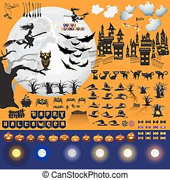 Set of Halloween objects and elements for your design.