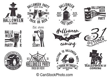 Set of Halloween party badges
