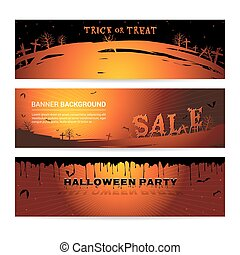 Set of Halloween party banner for event sale and party with graveyard atmostphere